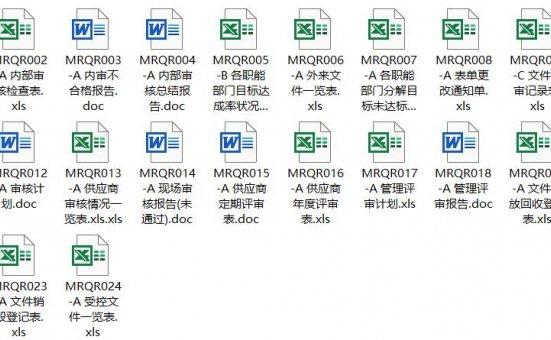 四阶文件 体系部全套表单